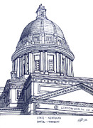 Pen And Ink Drawing Art - Kentucky State Capitol by Frederic Kohli