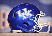 Sports Logo Framed Prints - Kentucky Wildcats Football Helmet Framed Print by Icon Sports Media