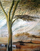 Just Painting Originals - Kenya Landscape by Evans Yegon
