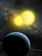Exoplanet Painting Metal Prints - Kepler-35 Metal Print by Lynette Cook