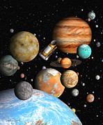 Exoplanet Painting Prints - Keplers Worlds Print by Lynette Cook