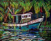 Kerala Paintings - Kerala Fishing Boat  by Art Nomad Sandra  Hansen