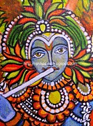 Kerala Paintings - Kerala Mural - Krishna by Rekha Artz