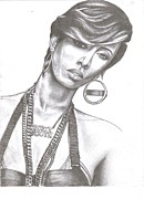 Pencil Drawing Pastels Prints - Keri Hilson  Print by Charleton Davis