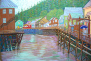 Riverbank Pastels Posters - Ketchican Alaska Poster by Rae  Smith PSC