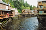 Alaskan Architecture Framed Prints - Ketchikan Creek Buildings Framed Print by Michael Peychich
