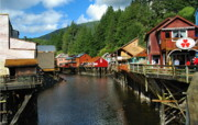 Colorful Buildings Posters - Ketchikan Creek Poster by Michael Peychich