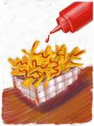 French Fries Digital Art Posters - Ketchup And Fries Poster by Russell Pierce