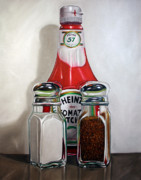Ketchup Paintings - Ketchup and Salt and Pepper Shaker by Vic Vicini