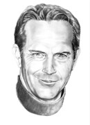 Famous People Drawings - Kevin Costner by Murphy Elliott