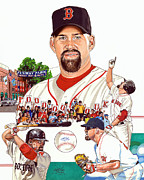 Red Sox Drawings - Kevin Youkilis by Neal Portnoy