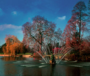 Willow Lake Posters - Kew Waterscape in autumn Poster by Maurice Gold