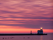 Clouds Layers Framed Prints - Kewaunee Lighthouse at Sunrise Framed Print by Bill Pevlor