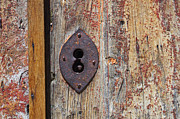 Wood Slat Background Prints - Key hole Print by Carlos Caetano
