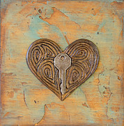 Distressed Mixed Media Originals - Key to My Heart III by Kimberly Merck Moore