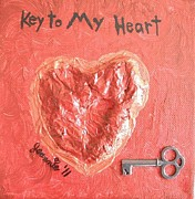 Jordan Mixed Media Framed Prints - Key to My Heart Framed Print by Jeannie Atwater Jordan Allen