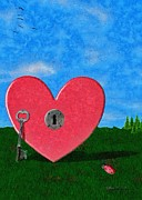 Key Digital Art - Key to My Heart by Jeff Kolker