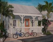 Tin Roof Paintings - Key West Bicycles by John Schuller
