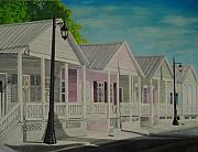 Facades Painting Posters - Key West Cottages Poster by John Schuller