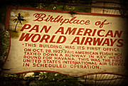 American Airways Photos - Key West Florida - Pan American Airways Birthplace Sign by John Stephens