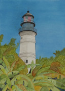 Florida House Drawings Posters - Key West Lighthouse Poster by John Edebohls