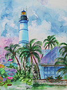 Key West Paintings - Key West Lighthouse by Larry  Johnson