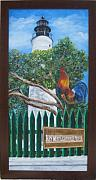 Key West Paintings - Key West Lighthouse Rooster by Linda Cabrera