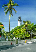 Key West Paintings - Key West Lighthouse by Tom Hedderich