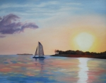 Key West Paintings - Key West Sunset by Jean Peace