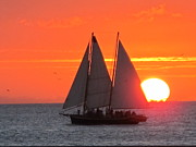 Sailboat Ocean Pyrography - Key West Sunset by Valia Bradshaw