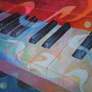 Musical Notes Posters - Keyboard Rhythms Poster by Susanne Clark