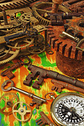 Discoveries Prints - Keys gears and compass Print by Garry Gay
