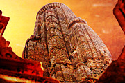 Illustrative Photo Framed Prints - Khajuraho Tower India Framed Print by Karel Noppe