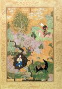 Stream Posters - Khusrau sees Shirin bathing in a stream Poster by Persian School