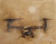 Helicopters Paintings - Kicking Sand by Stephen Roberson