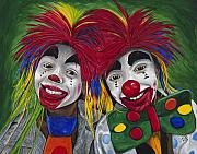 Laughing Painting Prints - Kid Clowns Print by Patty Vicknair