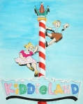 Yellow Drawings Posters - Kiddie Land Poster by Glenda Zuckerman