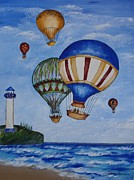 Best Choice Framed Prints - Kids art- Balloon ride Framed Print by Tatjana Popovska