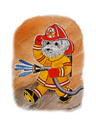 Fireman Paintings - Kids Art FireDog Firefighter  by Irina Sztukowski
