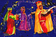 Navidad Paintings - Kids as Three Wise Men by Estela Robles