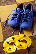 Footwear Prints - Kids blue shoes and mask Print by Garry Gay