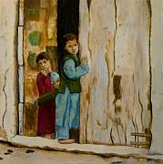 Middle East Painting Originals - Kids in a Doorway by Julia Collard