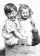 Boy And Girl Drawings - Kids in Tub by Rod Varney