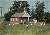 Mennonite Photos - Kids Play Baseball During Recess by J. Baylor Roberts