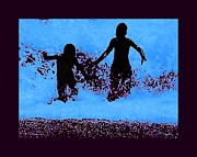 Surf Silhouette Posters - Kids playing beachside Silhouette Poster by Tisha McGee