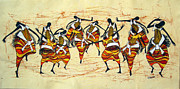 Dancers Tapestries - Textiles - Kiganda Traditional Dancers by Joseph Kalinda