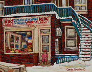 Montreal Storefronts Paintings - Kik Cola Cornerstore by Carole Spandau