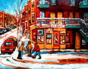 Hockey In Montreal Paintings - Kik Cola Depanneur by Carole Spandau