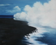 Impressionistic  On Canvas Paintings - Kilauea - Lava Meets the Ocean III by Mary Taglieri