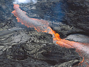 Flowing Lava Posters - Kilauea Lava Flow Poster by Karen Nicholson